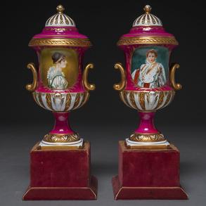 Pareja de copas francesas en porcelana época Napoleón III. Trabajo Francés, Siglo XIX