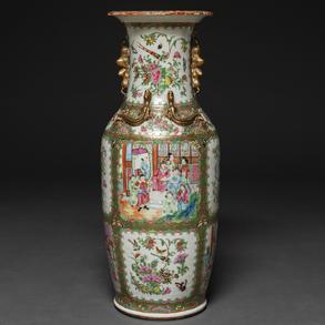 Jarrón en porcelana china de cantón. Trabajo Chino, Siglo XIX