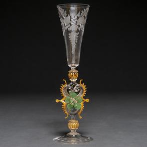 Copa de cristal de Murano en vidrio soplado y veteado