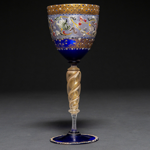 Copa de cristal de Murano soplado, veteado y pintado a mano.