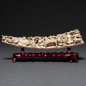 Relieve realizado en marfil tallado. Trabajo Chino, Finales del siglo XIX-XX