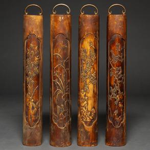 Conjunto de cuatro placas chinas en madera de bambú. Trabajo Chino, Siglo XX
