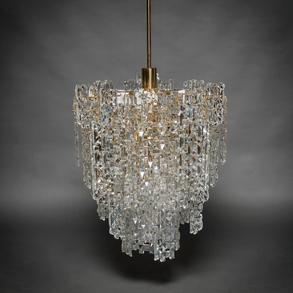 KINKELDEY, Lámpara vintage de nueve luces en cristal y acero cromado en dorado. Años 60-70