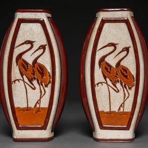 Pareja de jarrones Art Decó en cerámica esmaltada Keralouve la Louviore