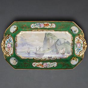 Fuente en porcelana francesa de Limoges Albert Pillivuyt, Siglo XIX