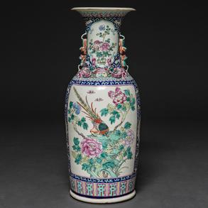Jarrón en porcelana China familia rosa. Trabajo Chino, Siglo XIX