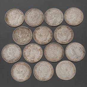 Conjunto de 7 monedas de lfonso XII, 5 Monedas de Alfonso XIII y Moneda de Rey Amadeo I