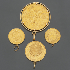 Conjunto de cuatro monedas de oro de 22kt.