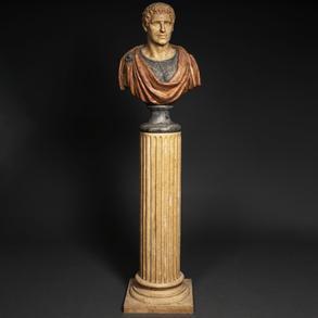 Busto clásico de bulto redondo realizado en polvo de alabastro. Siglo XX